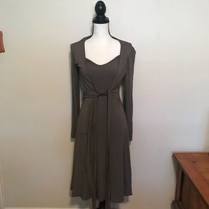 Theory Olive Brown Long Sleeve Wrap Dress - Size S